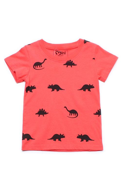 Dinosaurs Print T-Shirt RED (Boy's T-Shirt)