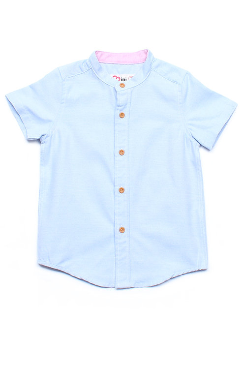 Brushed Cotton Classic Mandarin Collar Short Sleeve Shirt BLUE (Boy's Shirt)