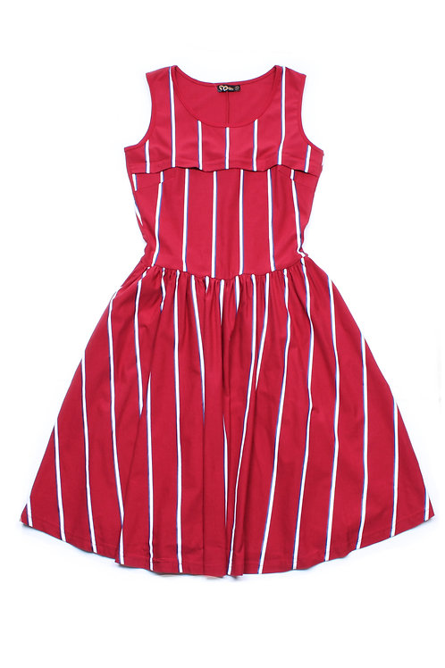 Shadow Stripes Nursing Skater Dress RED (Ladies' Dress)