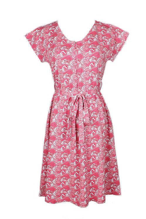 Japanese Wave Print Nursing Flare Dress PINK (Ladies' Dress)