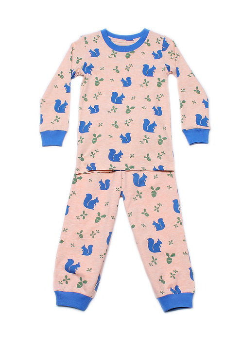 Squirrel Print Pyjamas Set ORANGE (Kids' Pyjamas)