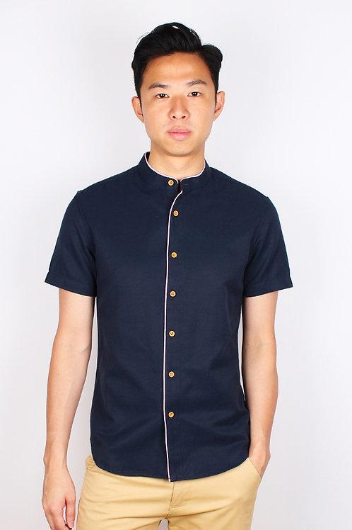 Piped Mandarin Collar Short Sleeve Shirt NAVY (Men's Shirt)