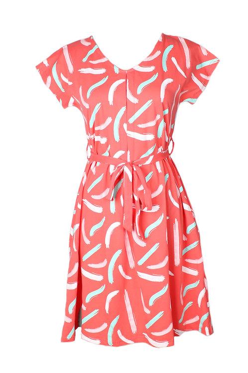Pastel Paint Brush Print Flare Dress PINK (Ladies' Dress)