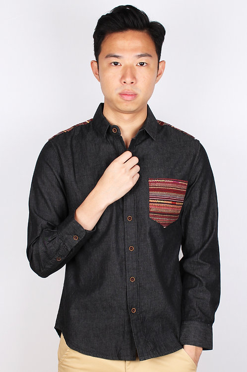 Aztec Embroidered Yoke Long Sleeve Shirt BLACK (Men's Shirt)