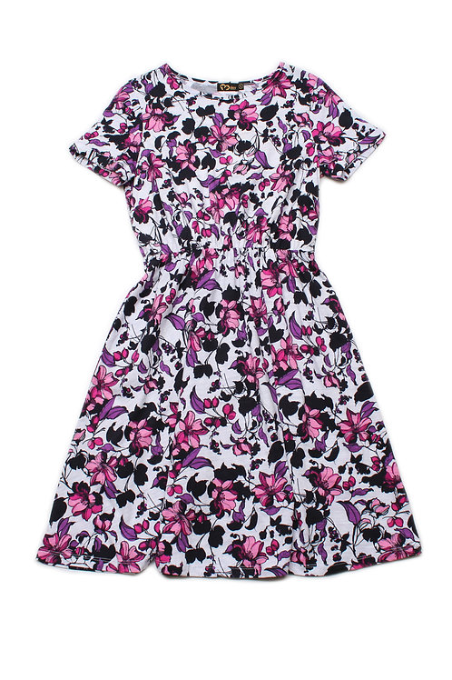 Floral Print Skater Dress WHITE (Ladies' Dress)