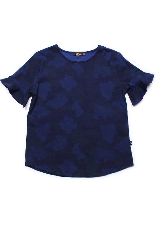 Camo Print Blouse NAVY (Ladies' Top)