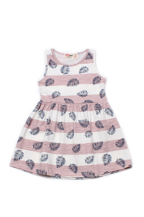 Striped Botanical Print Dress PINK (Girl's Dress)