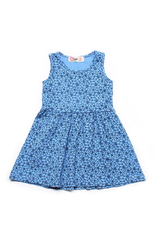 Floral Design Dress BLUE (Girl's Dress)