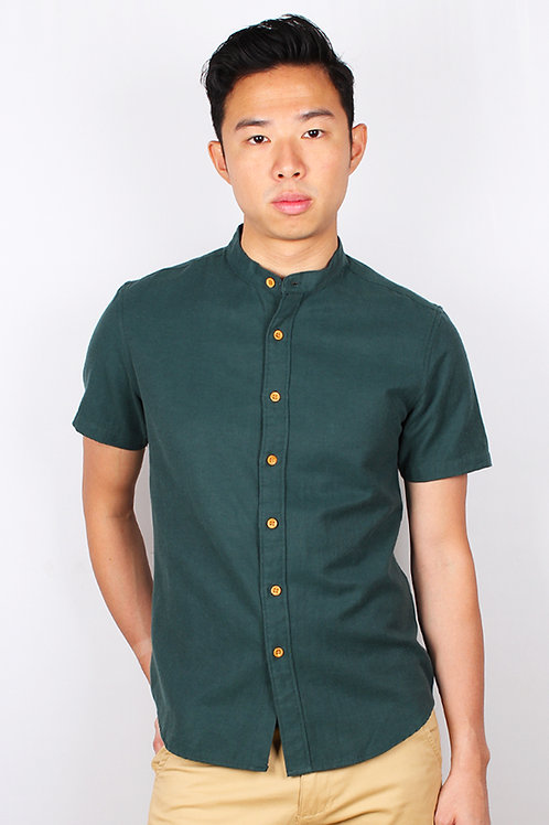 Brushed Cotton Classic Mandarin Collar Short Sleeve Shirt GREEN (Men's Shirt)