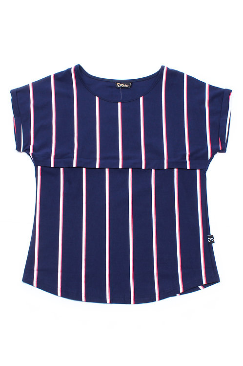 Shadow Stripes Nursing Blouse NAVY (Ladies' Top)