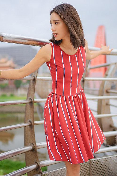 Shadow Stripes Skater Dress RED (Ladies' Dress)