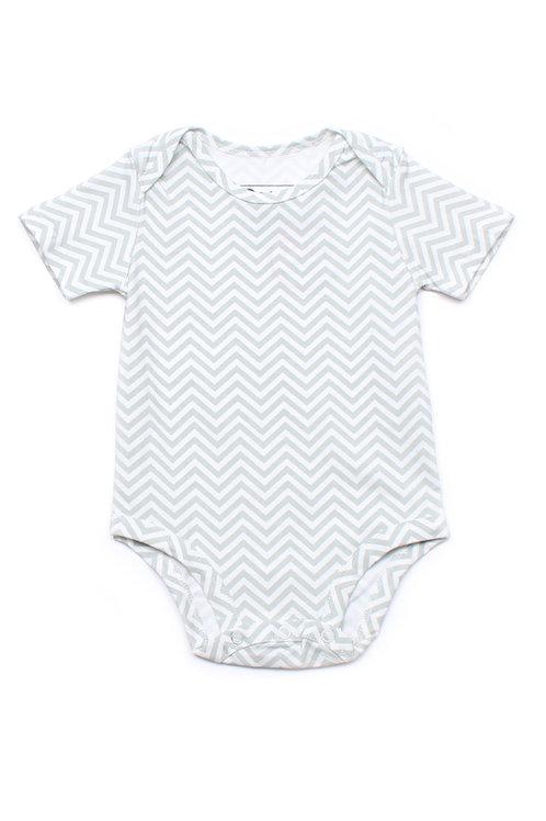 Zigzag Stripes Print Romper GREY (Baby Romper)