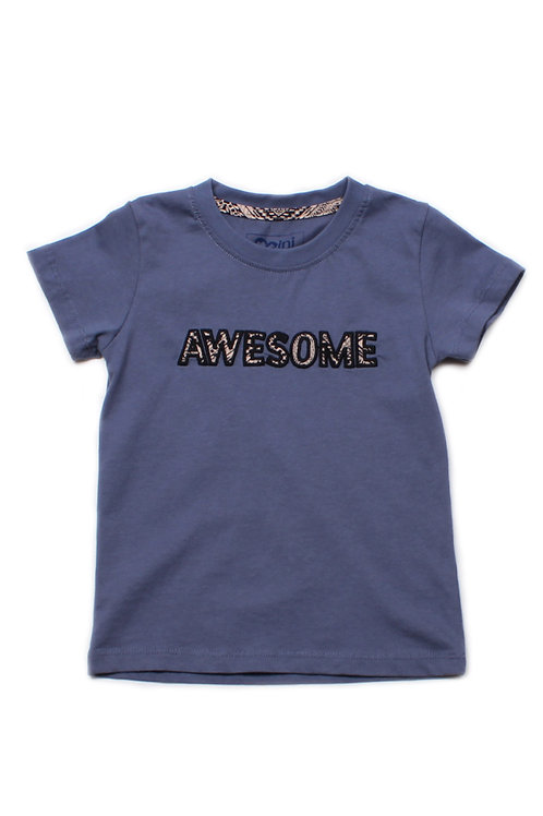 Aztec AWESOME Embroidery T-Shirt BLUE (Boy's T-Shirt)