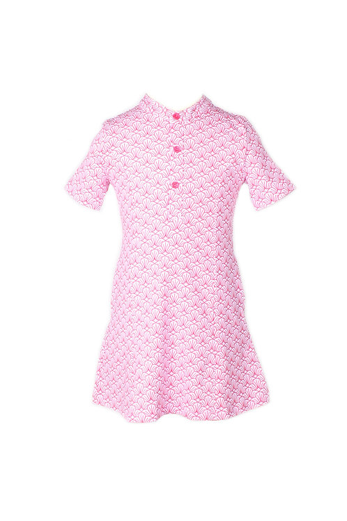 Seashell Print Half-Button Down Dress PINK (Girl's Dress)