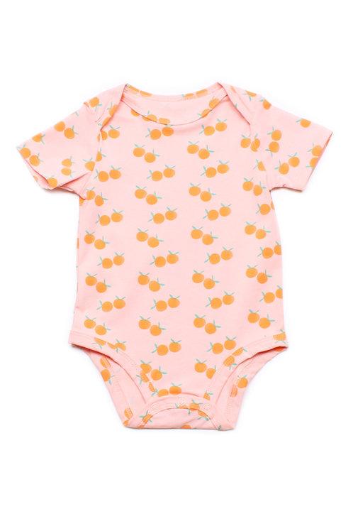 Mandarin Orange Print Romper PINK (Baby Romper)