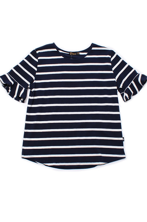 Striped Ruffle Cuffs Blouse NAVY (Ladies' Top)
