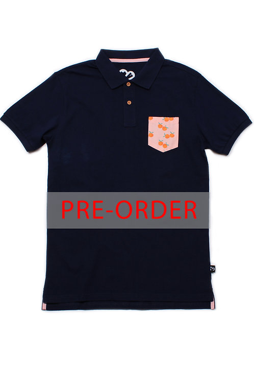 Mandarin Orange Print Pocket Polo T-Shirt NAVY (Men's Shirt)