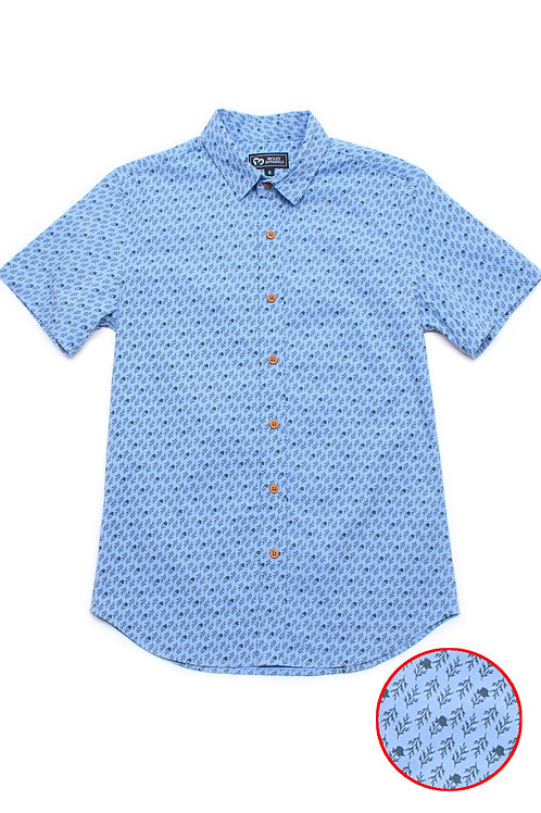 Rose Print Motif Short Sleeve Shirt BLUE (Men's Shirt)