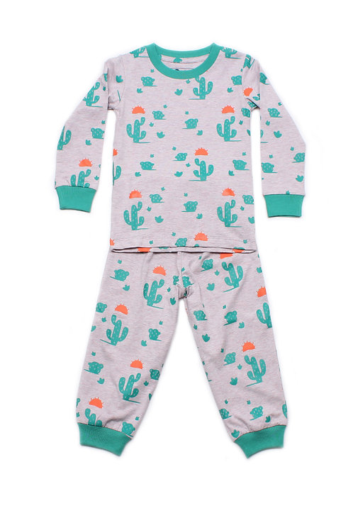 Cactus Print Pyjamas Set GREY  (Kids' Pyjamas)