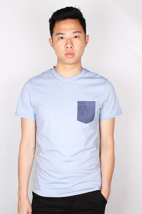 Faded Look Pocket T-Shirt BLUE (Men's T-Shirt)