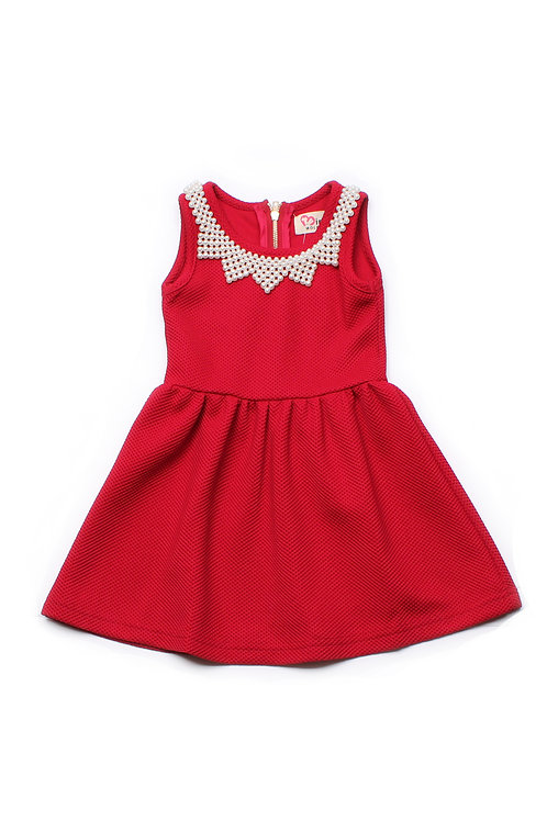 Faux Pearl Neckline Dress RED (Girl's Dress)