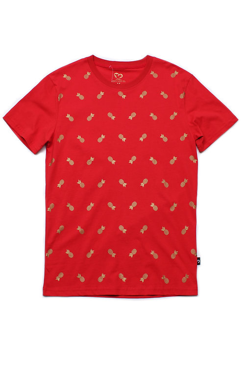 Pineapple Print T-Shirt RED (Men's T-Shirt)