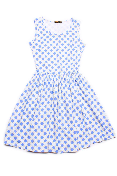 Geometric Print Skater Dress BLUE (Ladies' Dress)
