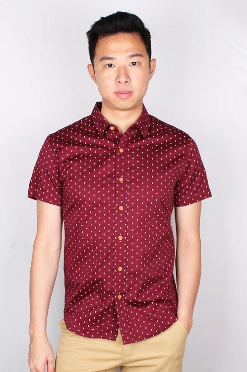 Mini Yacht Motif Design Short Sleeve Shirt RED (Men's Shirt)