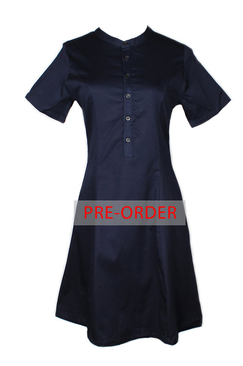 Brushed Cotton Half-Button Down Dress NAVY (Ladies' Dress)