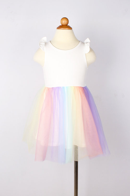 Rainbow Bubble Dress WHITE (Girl's Dress)