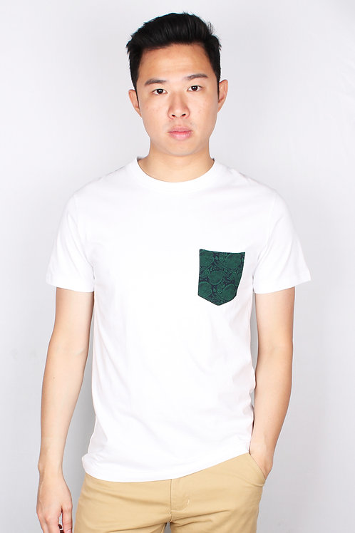 Tribal Print Pocket T-Shirt WHITE (Men's T-Shirt)