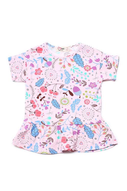 Floral Print Frill T-Shirt PINK (Girl's Top)