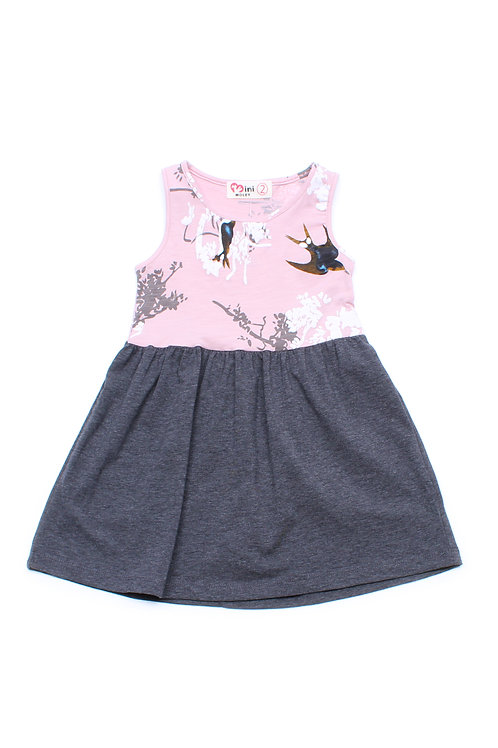 Birds and Embossed Floral Print Dress PINK (Girl's Dress)