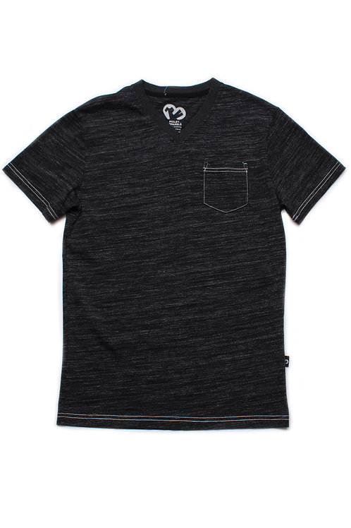 Contrast thread V-neck T-Shirt BLACK (Men's T-Shirt)