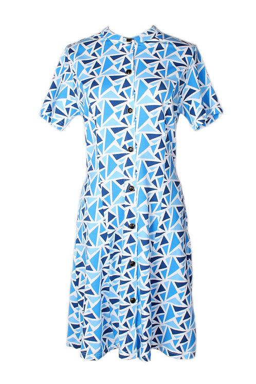 Geometric Triangles Print Button Dress BLUE (Ladies' Dress)