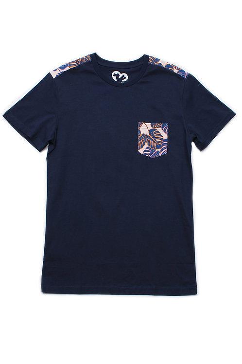 Neon Botaanical Print T-Shirt NAVY (Men's T-Shirt)