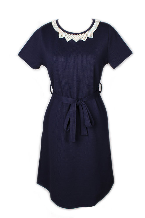 Faux Pearl Neckline Flare Dress NAVY (Ladies' Dress)