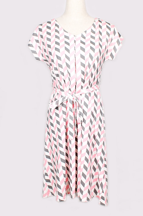 Geometric Chevron Print Nursing Flare Dress PINK (Ladies' Dress)