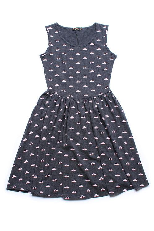 Swans Print Skater Dress DARKGREY (Ladies' Dress)