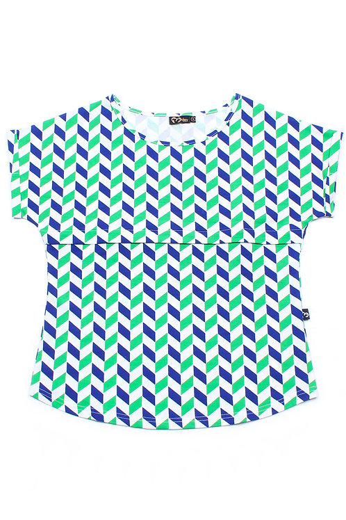 Geometric Chevron Print Nursing Blouse GREEN (Ladies' Top)