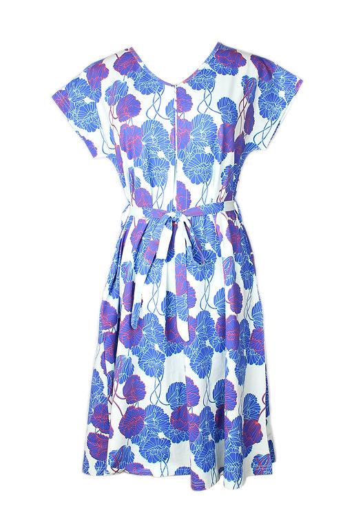 Neon Peony Print Nursing Flare Dress CYAN (Ladies' Dress)