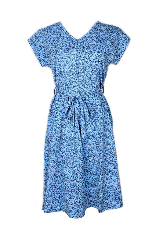 Floral Design Flare Dress BLUE (Ladies' Dress)