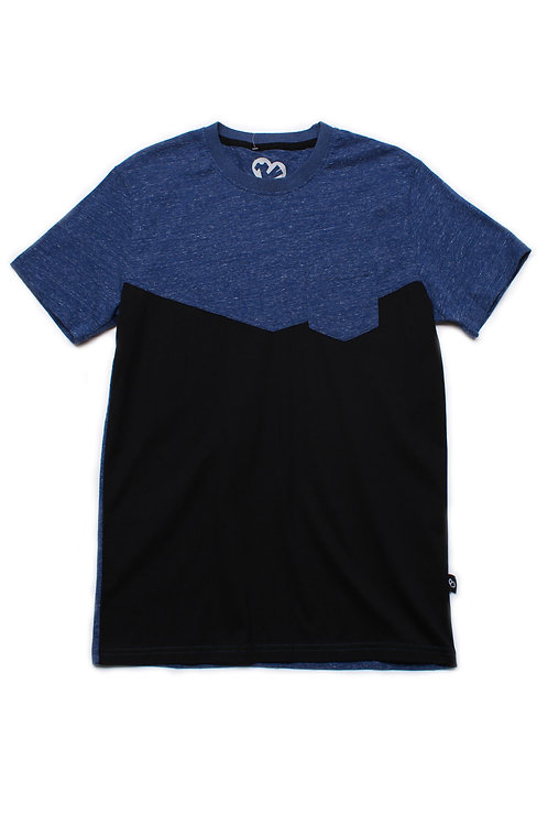 Two-Tone Chevron T-Shirt with Pocket BLUE (Men's T-Shirt)