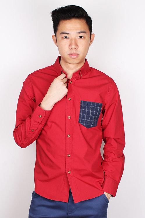 Checked Pocket Long Sleeve Shirt RED (Men's Shirt)