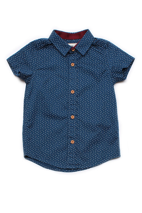 Sprinkle Print Short Sleeve Shirt NAVY (Boy's Shirt)