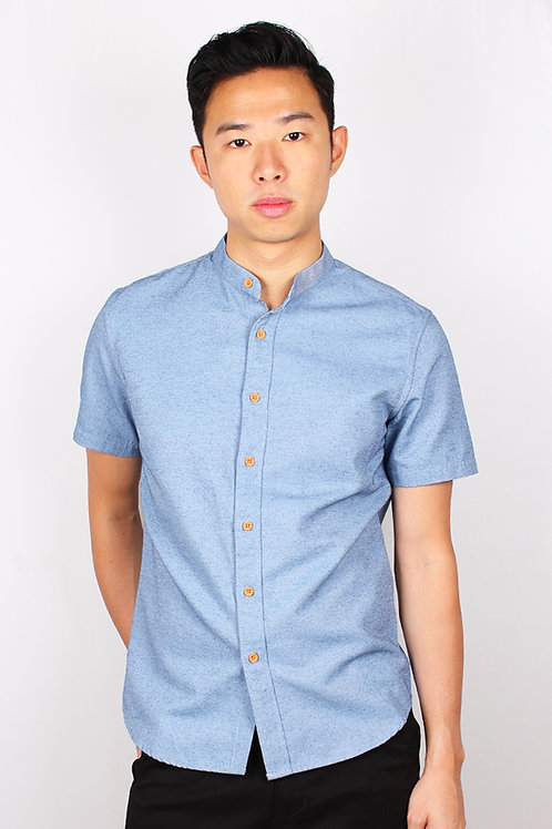 Brushed Cotton Classic Mandarin Collar Short Sleeve Shirt DARKBLUE (Men's Shirt)