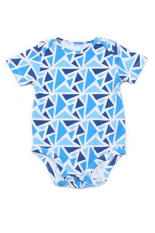 Geometric Triangles Print Romper BLUE (Baby Romper)