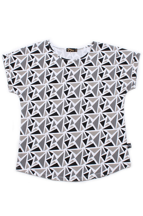 Geometric Triangles Print Blouse GREY (Ladies' Top)