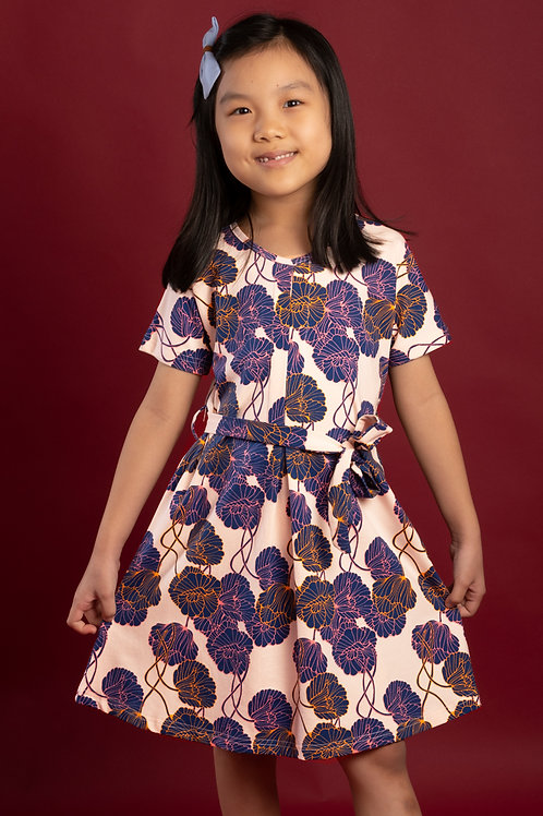 Neon Peony Print Flare Dress PINK (Girl's Dress)