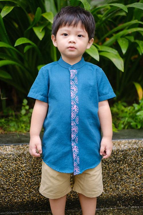 Floral Patterned Print Mandarin Collar Short Sleeve Shirt TURQUOISE (Boy's Shirt